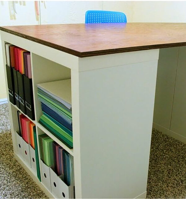 Cool Custom Craft Table with Shelves