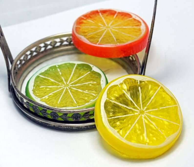 Citrus Fruit Slice Charm Set