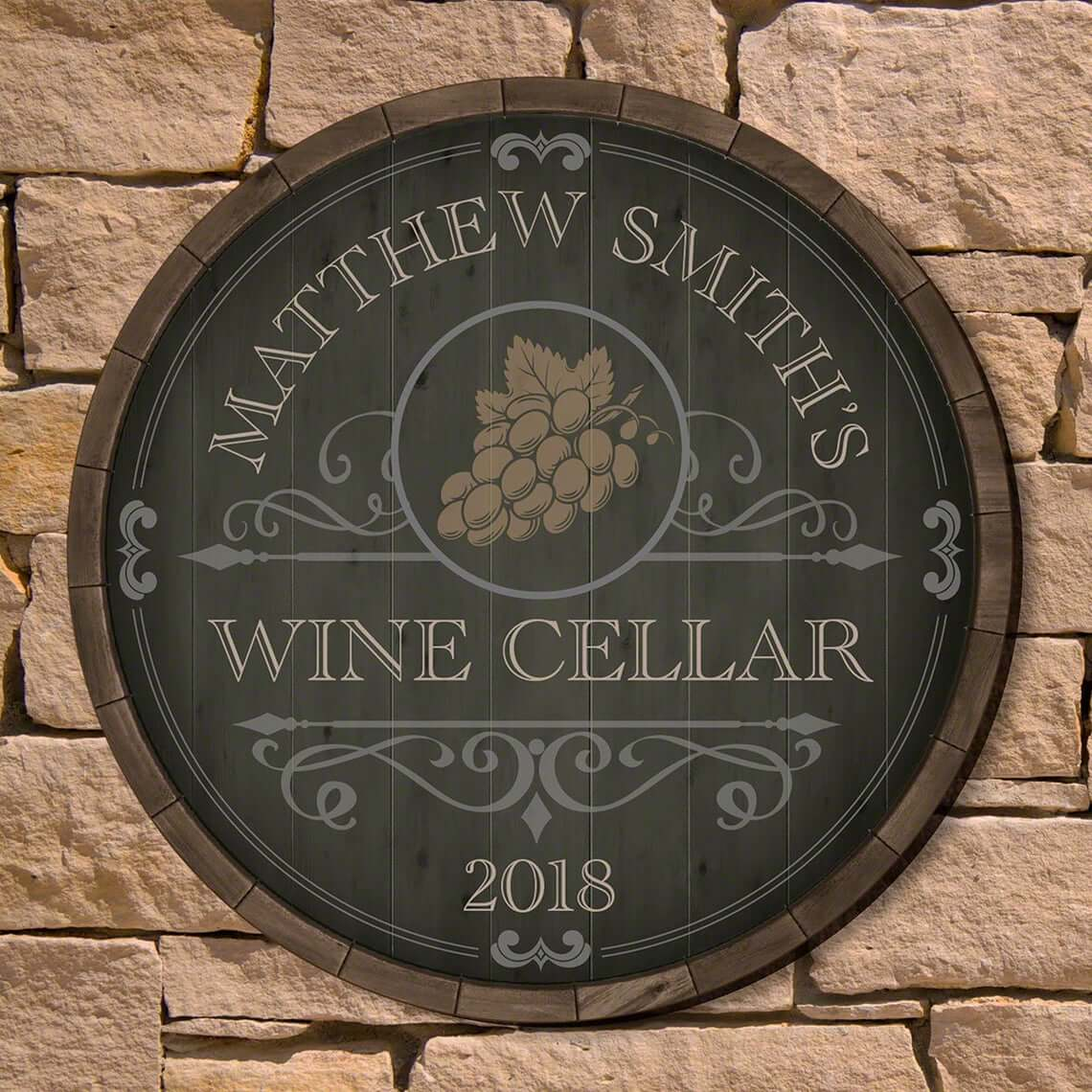 Rustic Beauteous Barrel Personalized Wine Cellar Sign