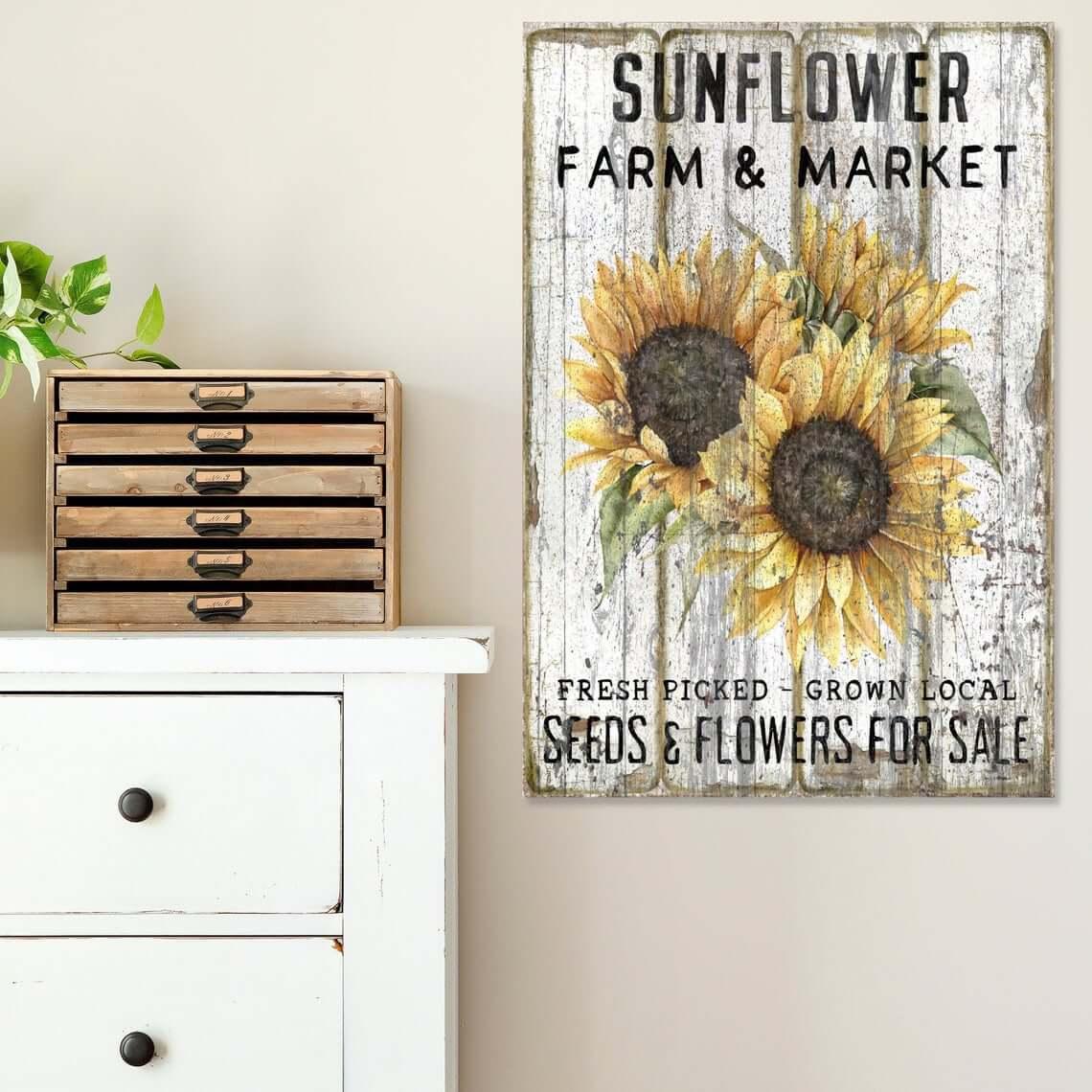 Vintage Sunflower Farm Market Sign