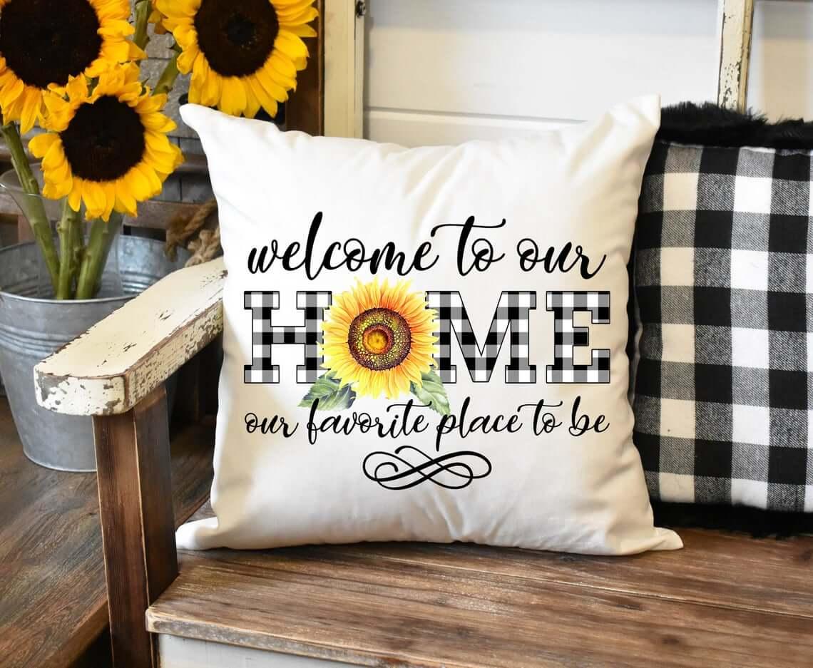 Cool Fall Sunflower Throw Pillow