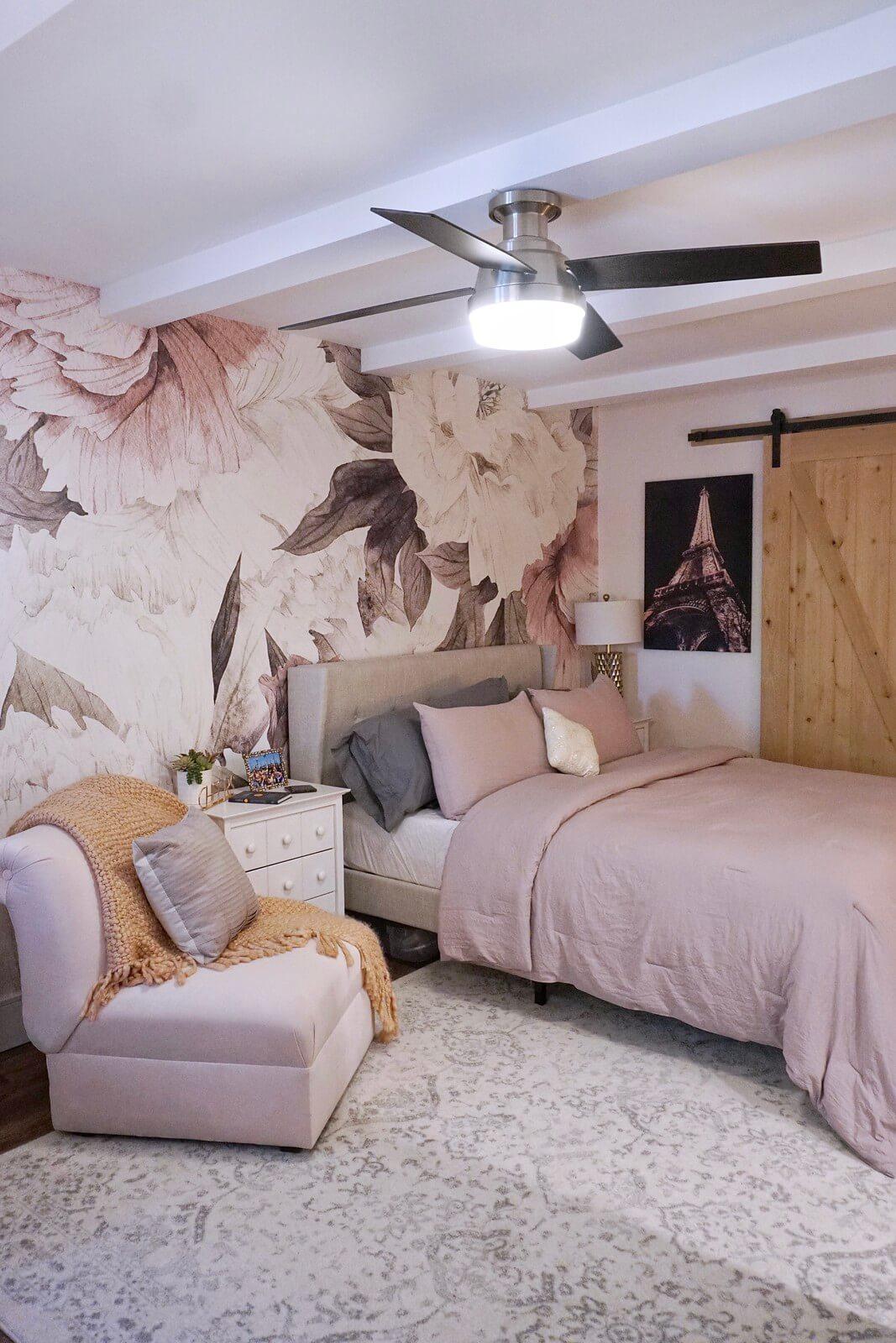 Boho Chic Blooming Blush Wall Bedroom Renovation