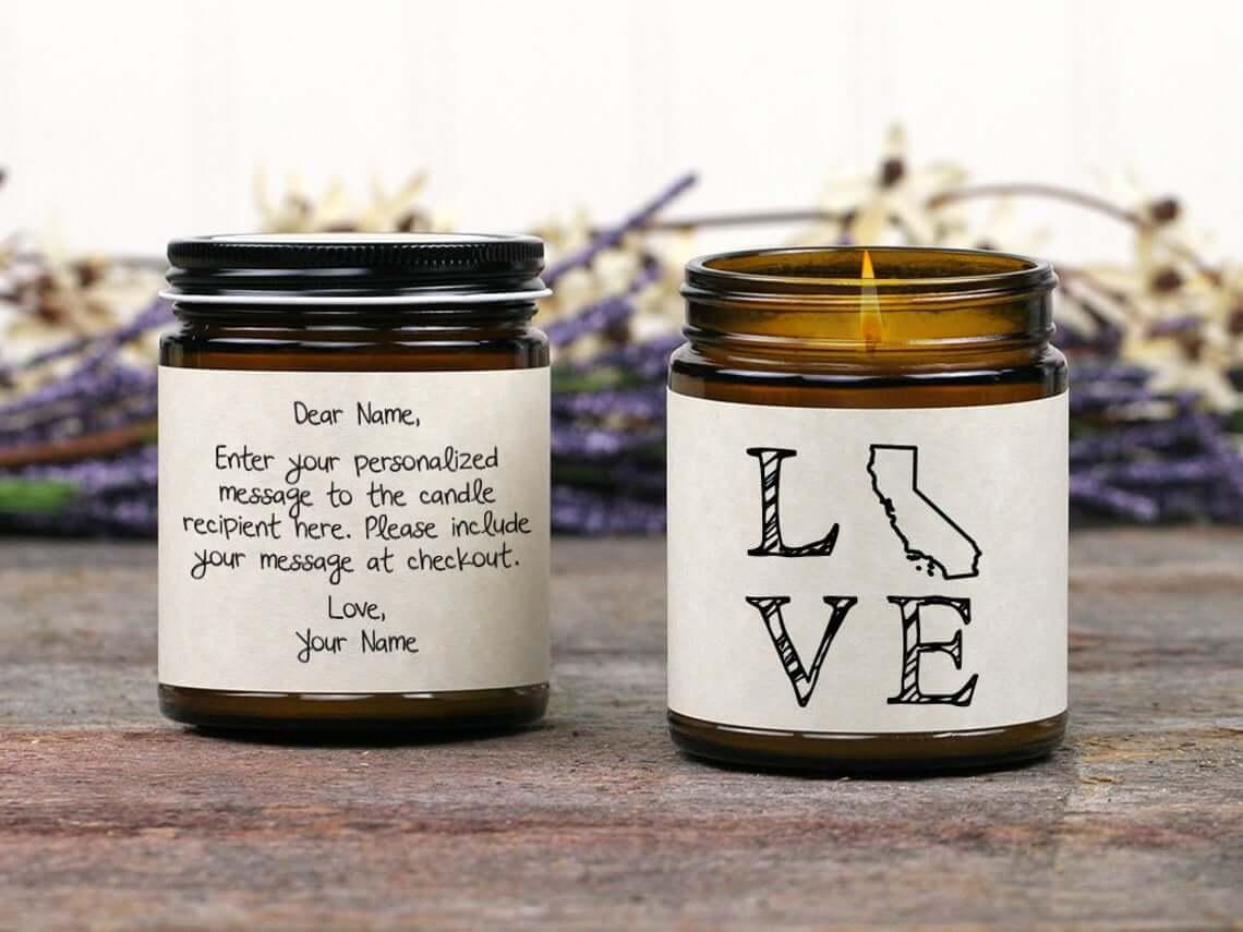 Love California Custom Handwritten Message Candle