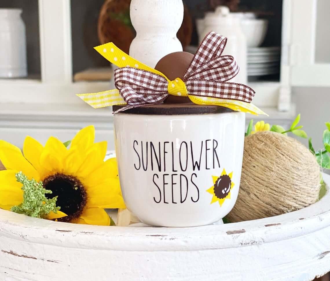 Charming Mini Ceramic Sunflower Pot with Lid