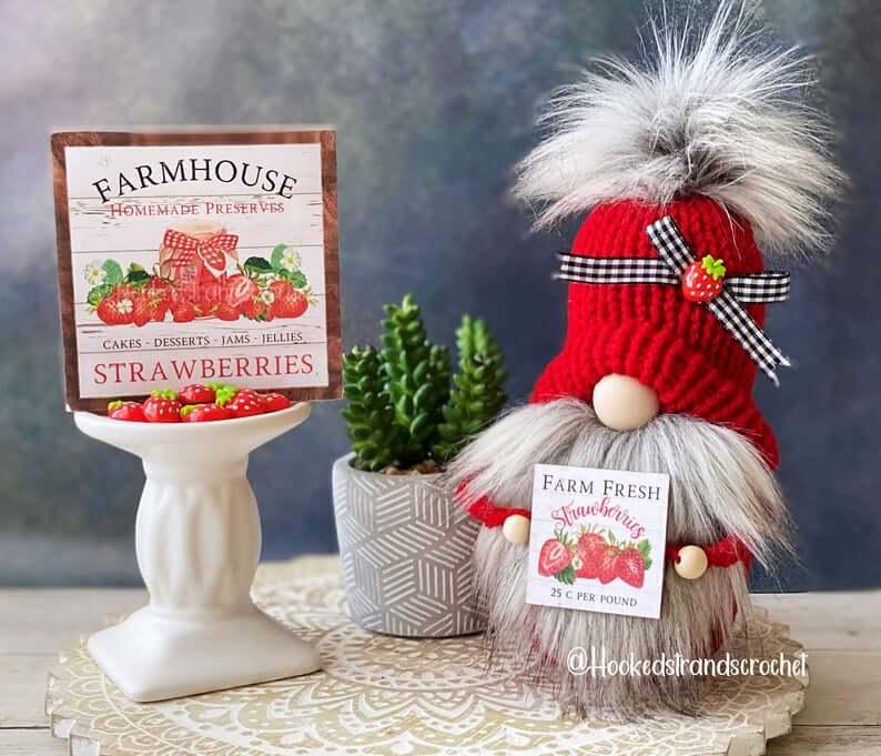 Unique Strawberry Fruit Gnome Décor