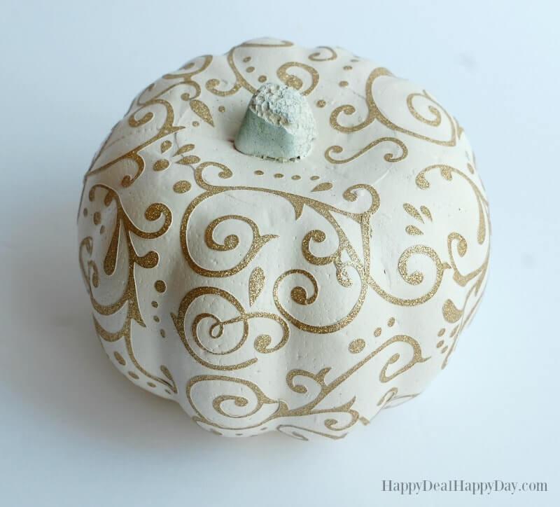 Glitter Embellished Styrofoam Painted Pumpkin