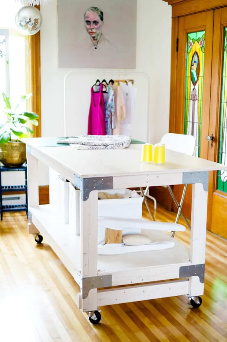 Counter Height Wooden Cutting Table on Wheels