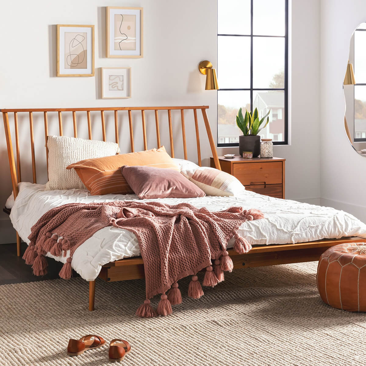 Low Profile Wooden Spindle Back Bed