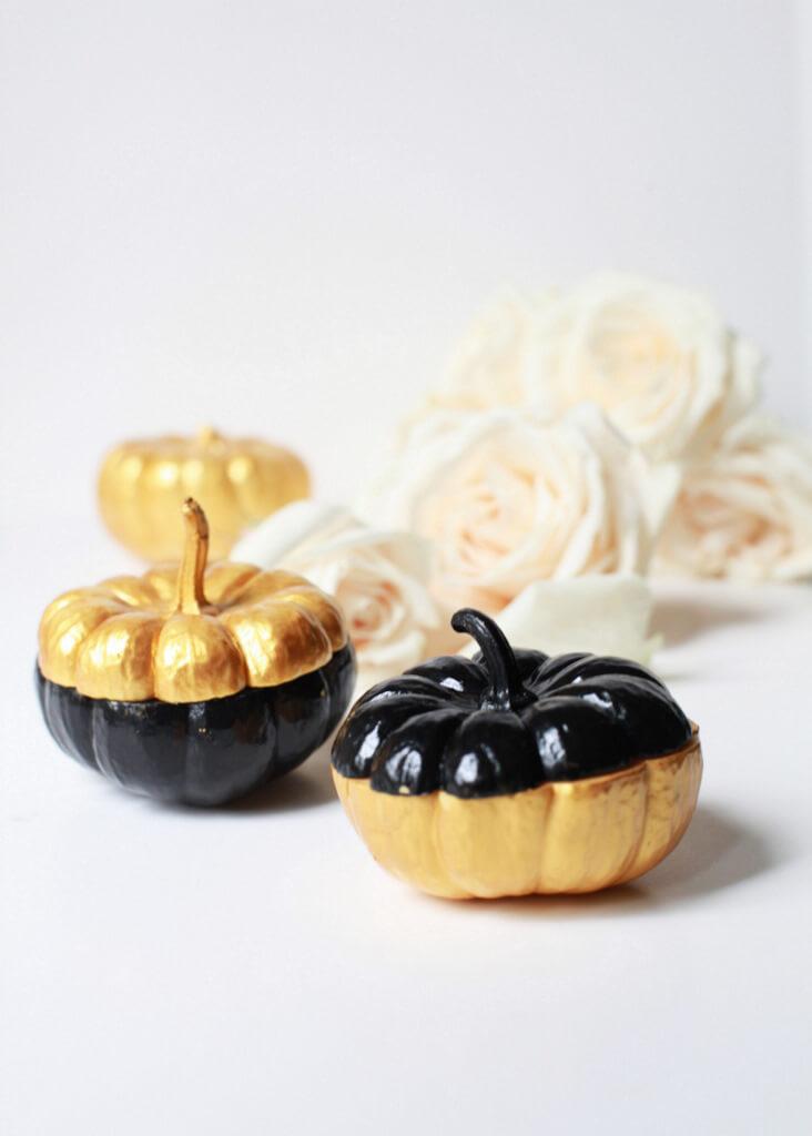 Gold Painted Miniature Pumpkin Single Flower Vase