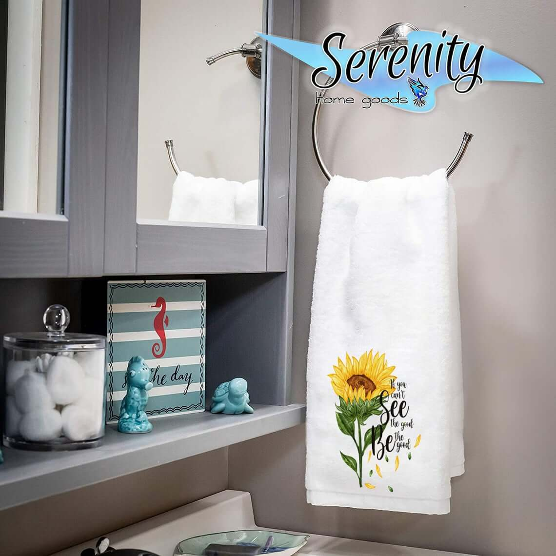 Perfect Rustic Sunflower Bath Hand Towels