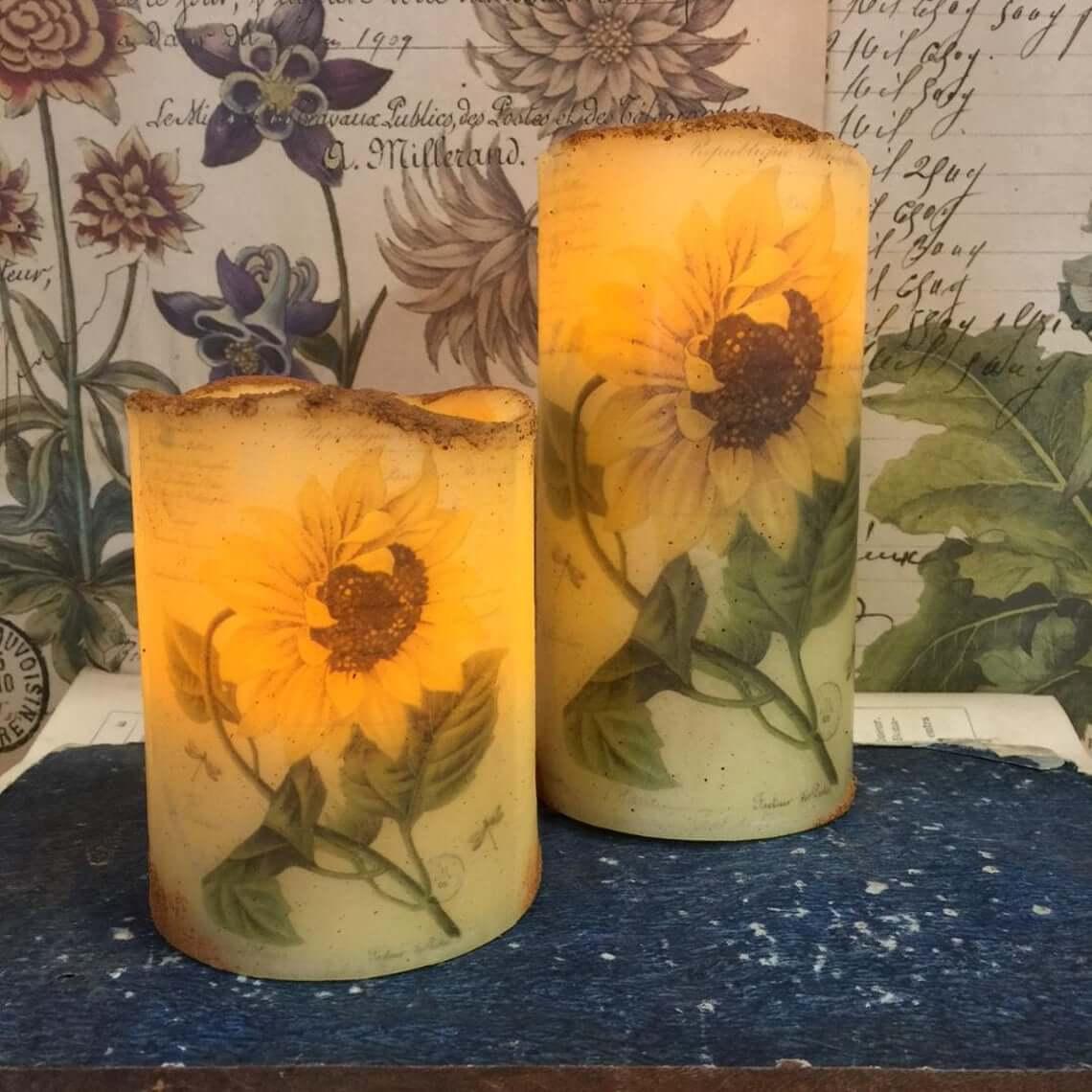 Yellow Timed Flameless LED Sunflower Pillar