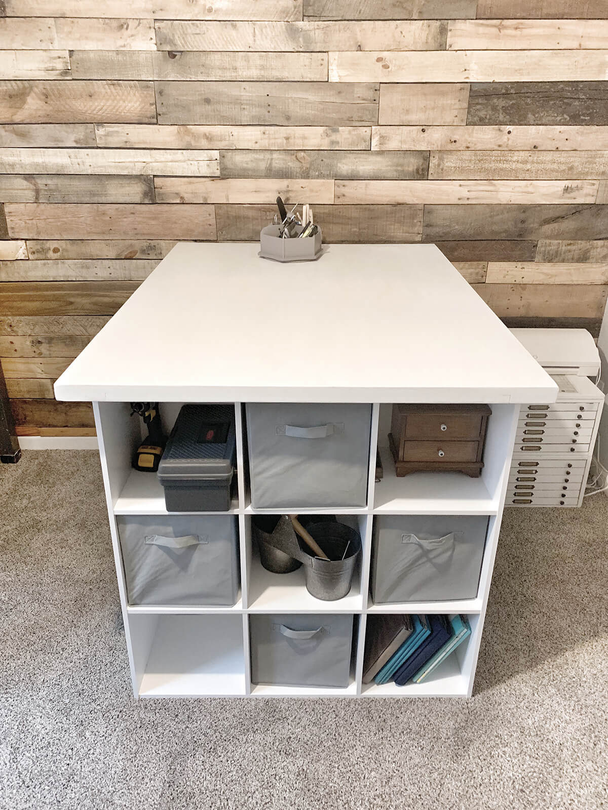 Storage Galore Craft Room Table with Cubbies