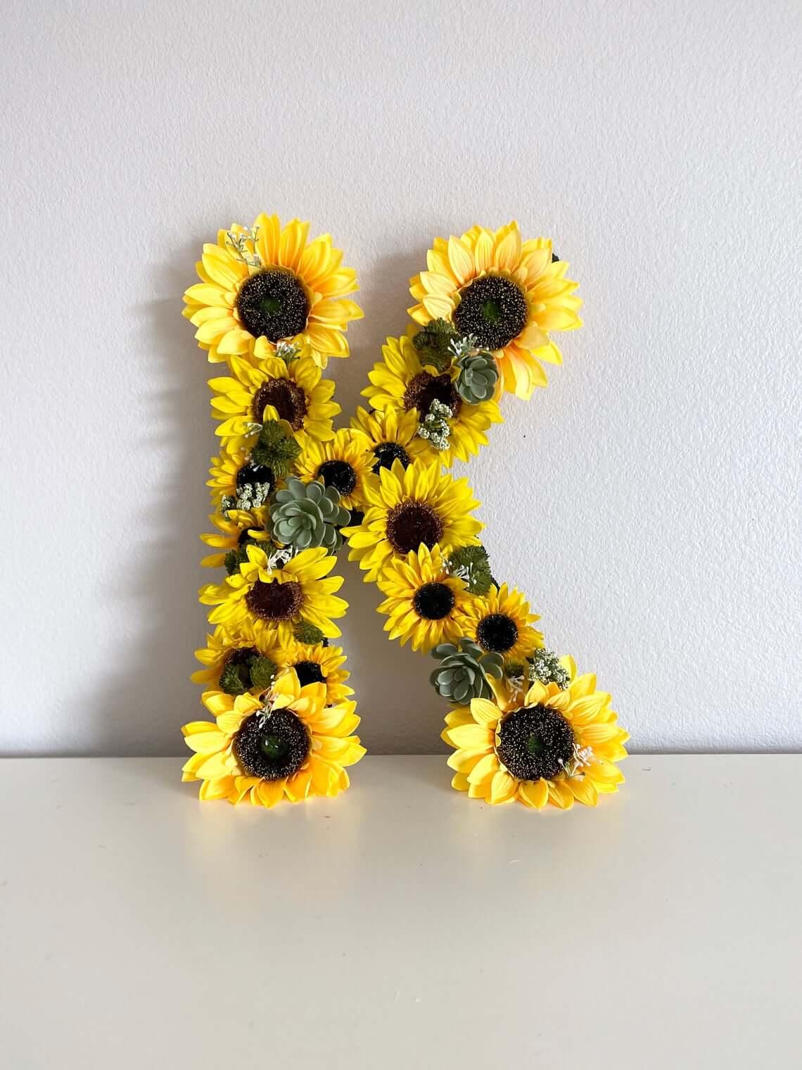 Sunflower Letter for Teen Bedroom