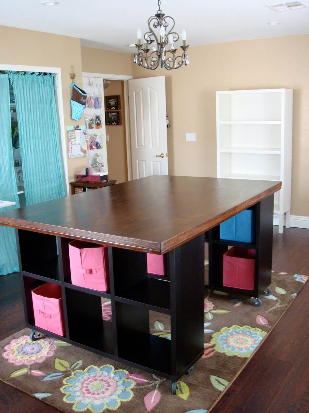 DIY Cube Base Wooden Top Craft Table