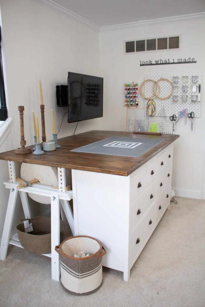 Crafty Cutting Table with Bulk Batting Storage