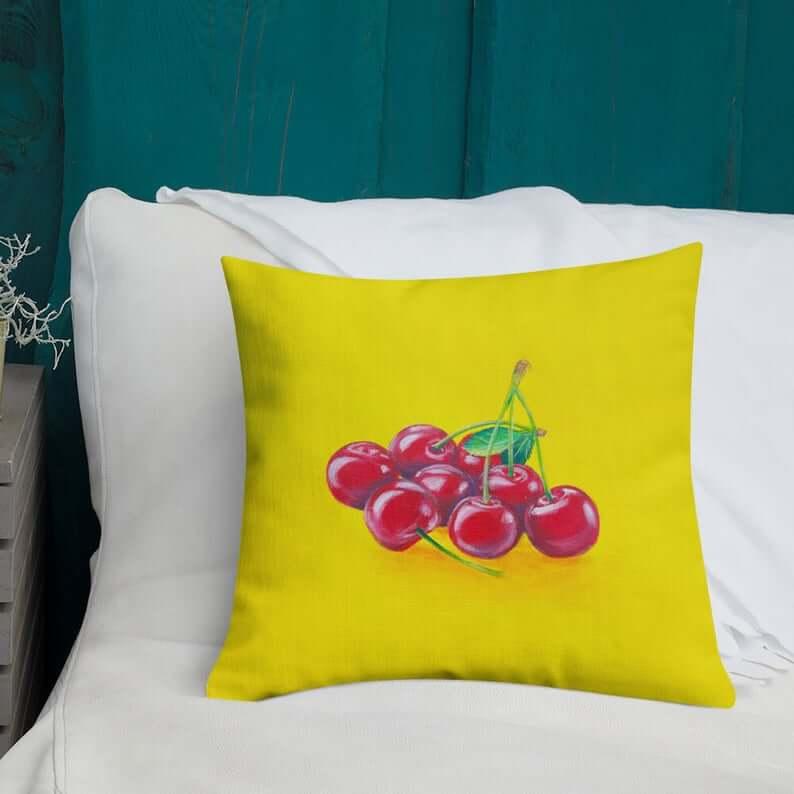 Artistic Fruit Cherries Pillow Design