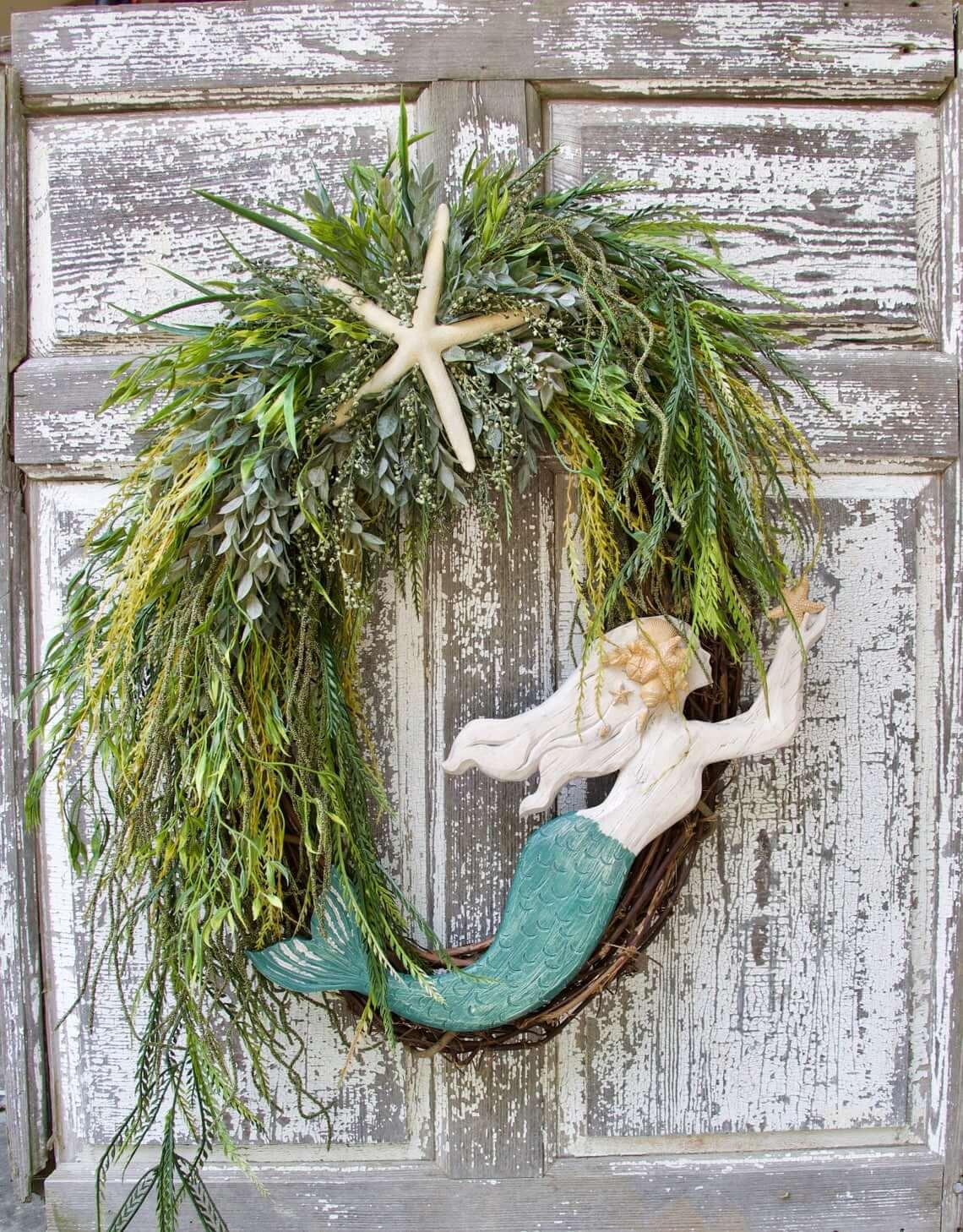 Beautiful Mermaid Queen on the Door