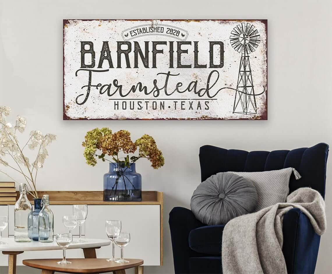Large Farmstead Stretched-Canvas Headboard
