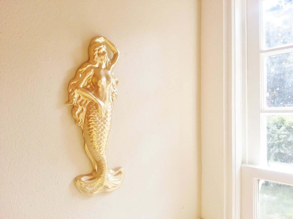 Antique Sensual Golden Mermaid Queen Sculpture