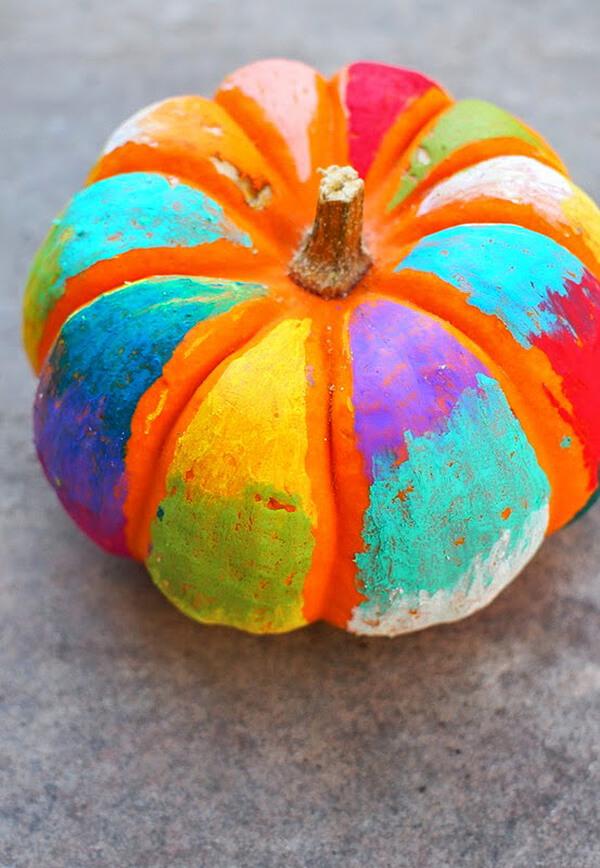 Oil Pastels and Mod Podge Painted Pumpkins