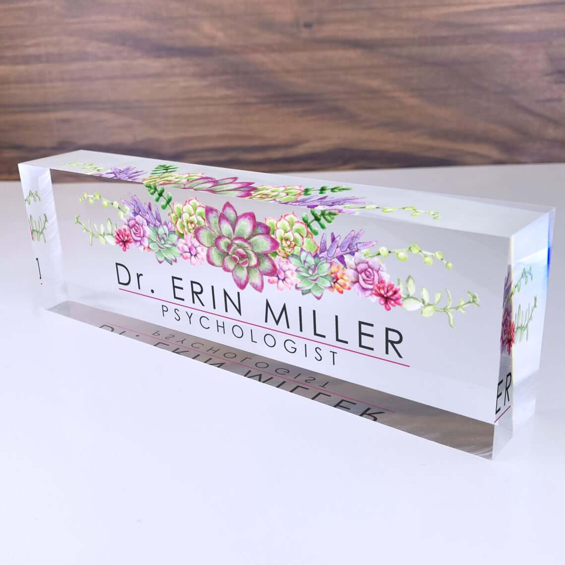 Acrylic Floral Name Plate for Desk