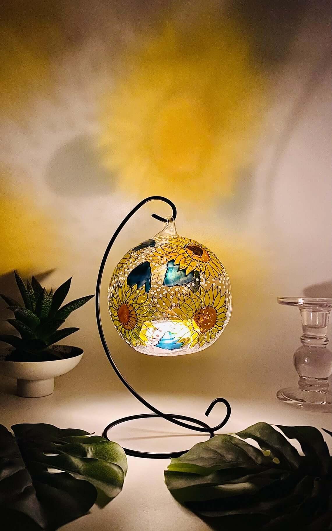 Precious Sunflower Glass Candle Holder