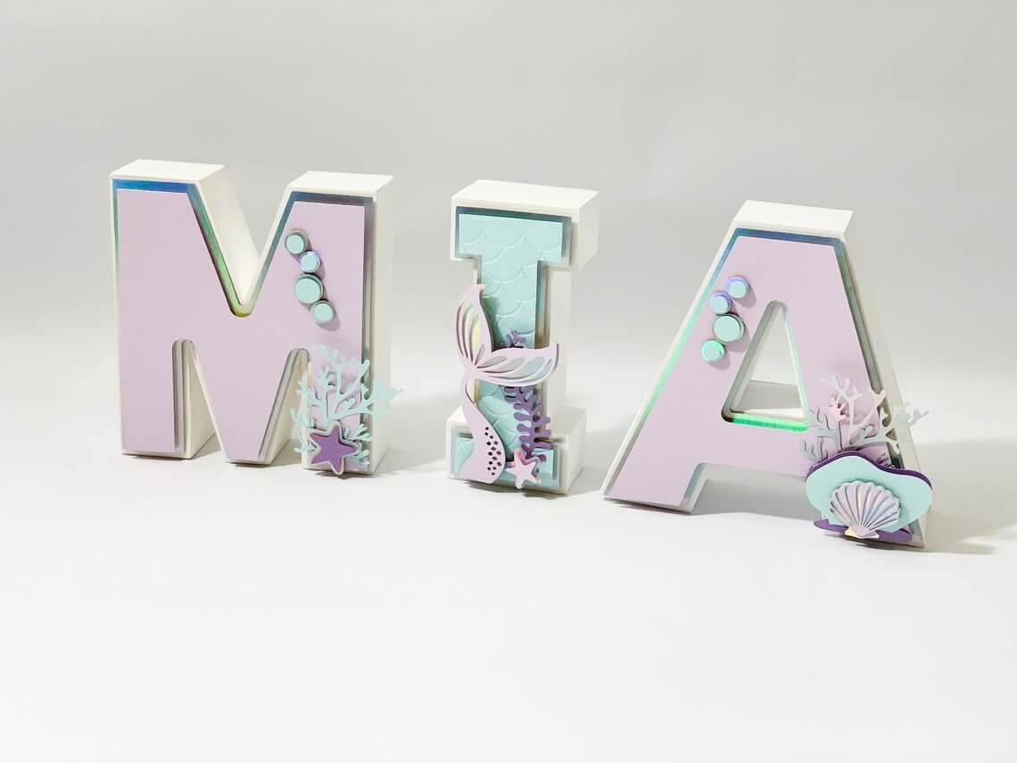 Glimmering Pink Mermaid Alphabets for Your Home Décor