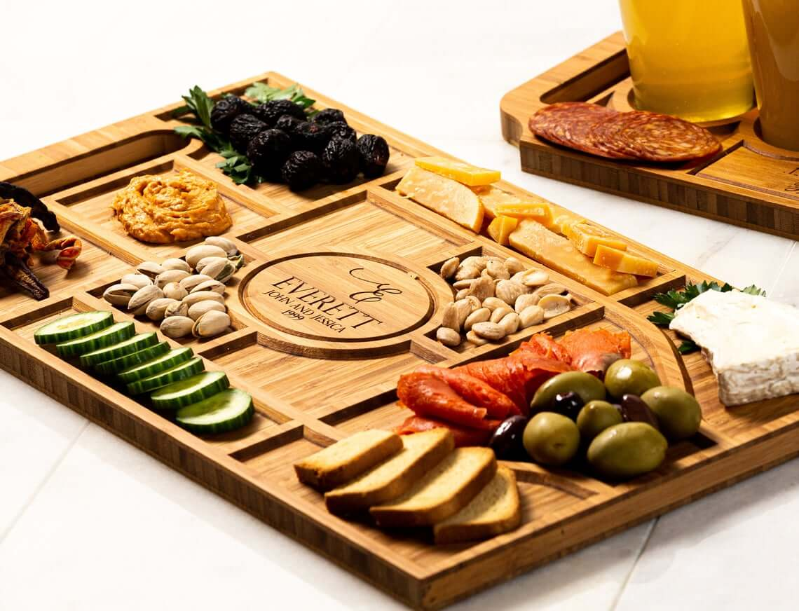 Personalized Laser-Engraved Charcuterie Planks and Beer Flights