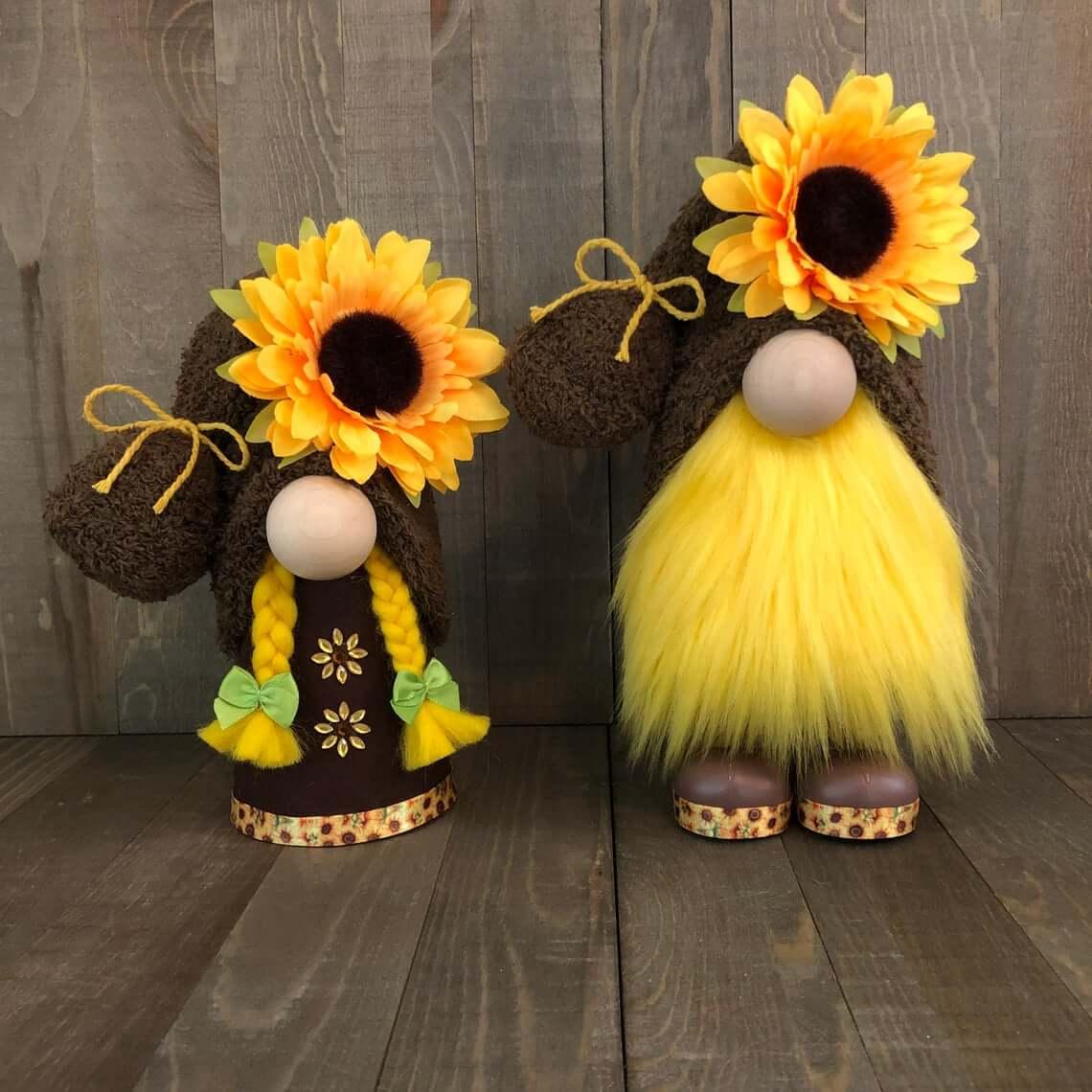 Cute and Unique Sunflower Gnome Couple