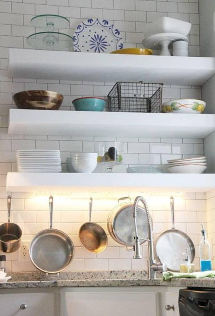 Thick DIY Floating Kitchen Shelves