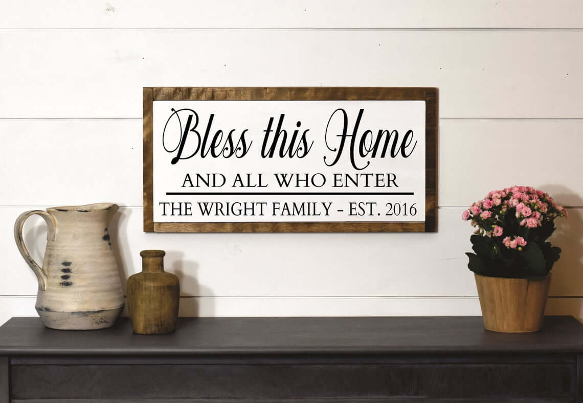 Bless This Home Personalized Wood Family Plaque