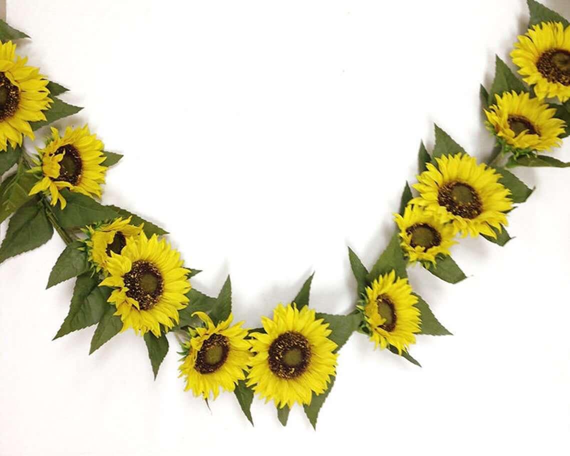 Summer Wedding Sunflower Garland Backdrop