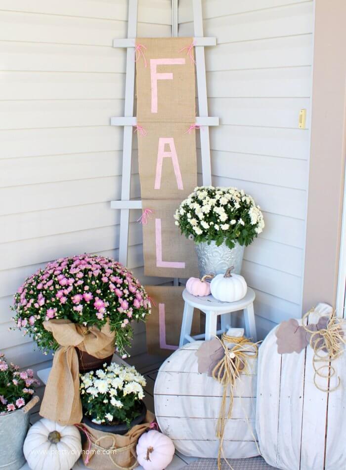 Pink Fall Ladder Banner Porch Decor