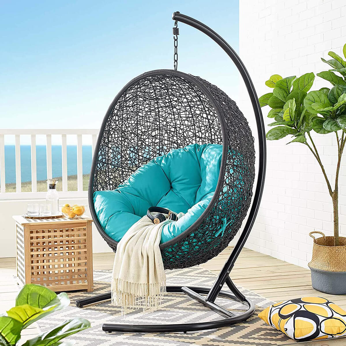 Encase Wicker Rattan Porch Lounge Egg Chair