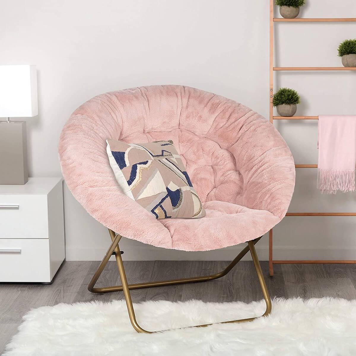 Cozy Faux Fur Saucer Chair