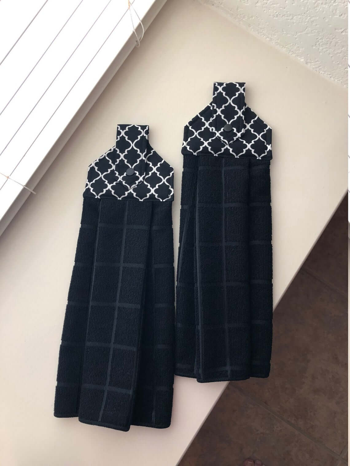 Decorative Black Kitchen Towels with Holders