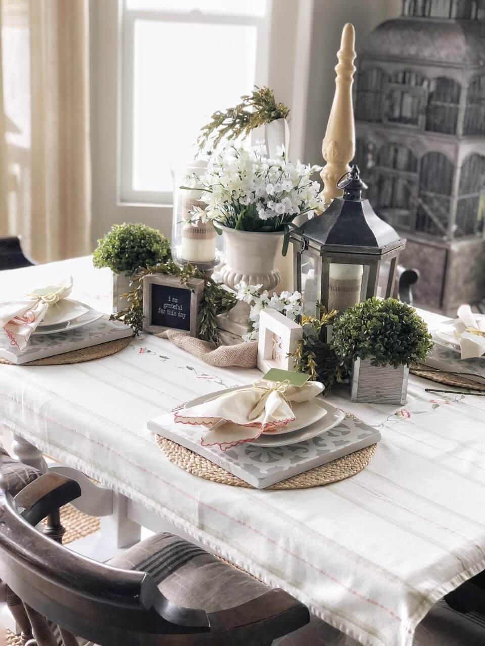Blooming Tablescape with Wooden, Stenciled Chargers