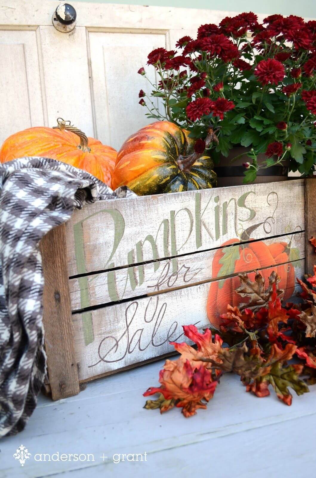 Hand Painted Harvest Pumpkin Crate for Fall