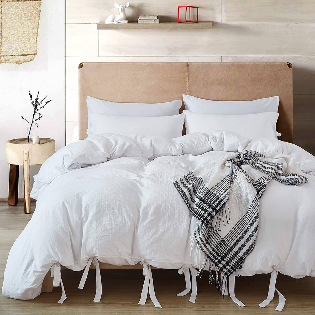 Bowtied and Tufted Washed Microfiber Bedding Set