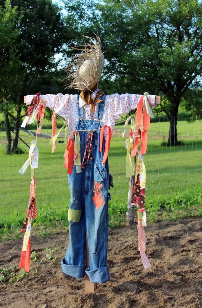 Garden Scarecrow with Fabric Garland