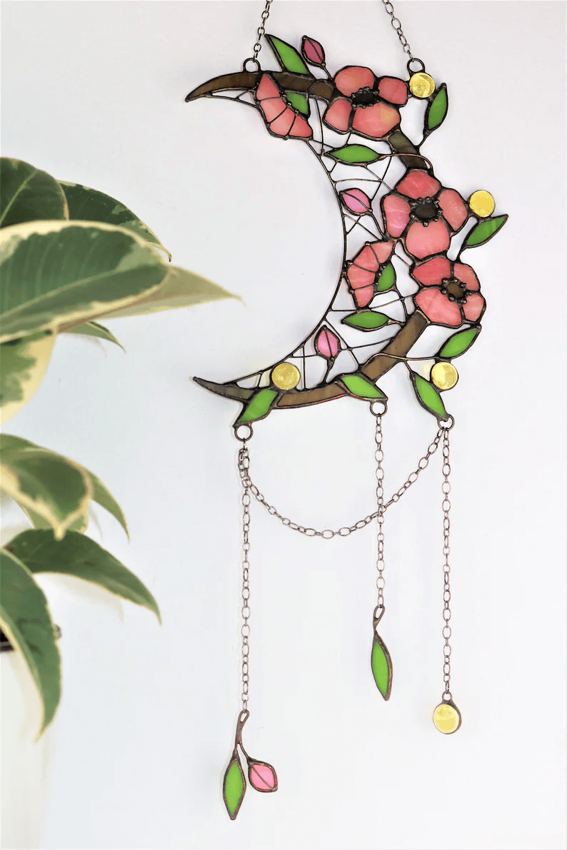 Stained Glass Crescent Moon Dreamcatcher