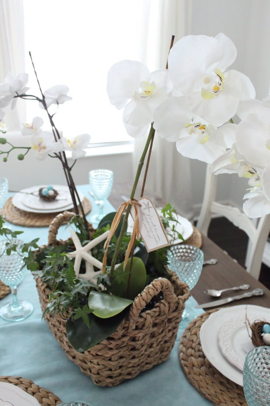 Woven Basket with White Orchids