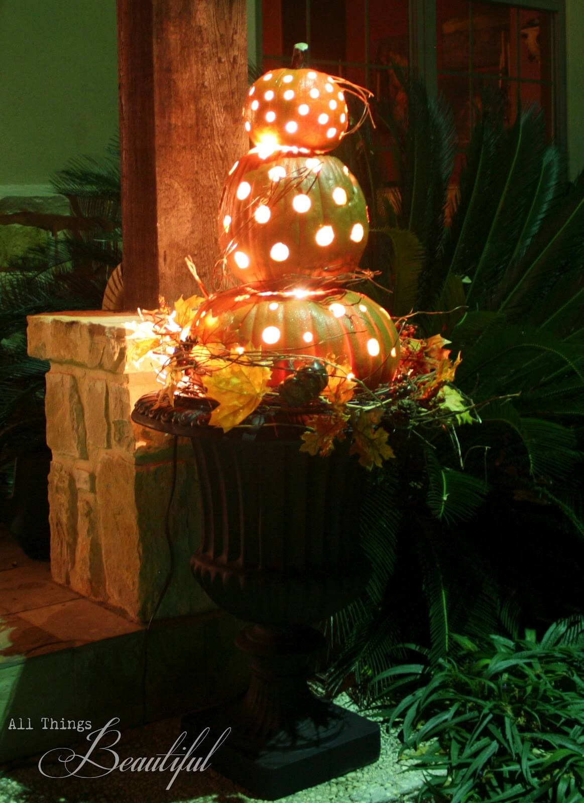 Pretty Pumpkin Porch Topiary with Lights