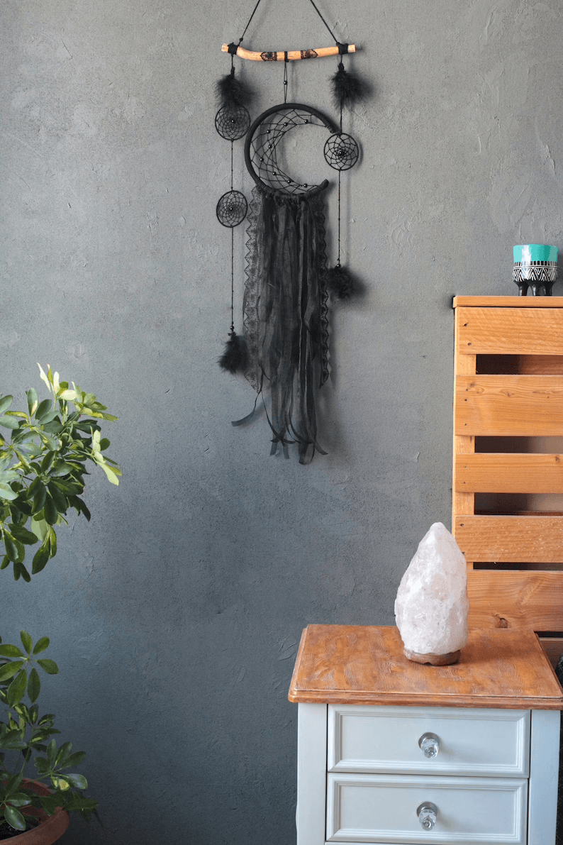 Dark Crescent Moon Wall Hanging