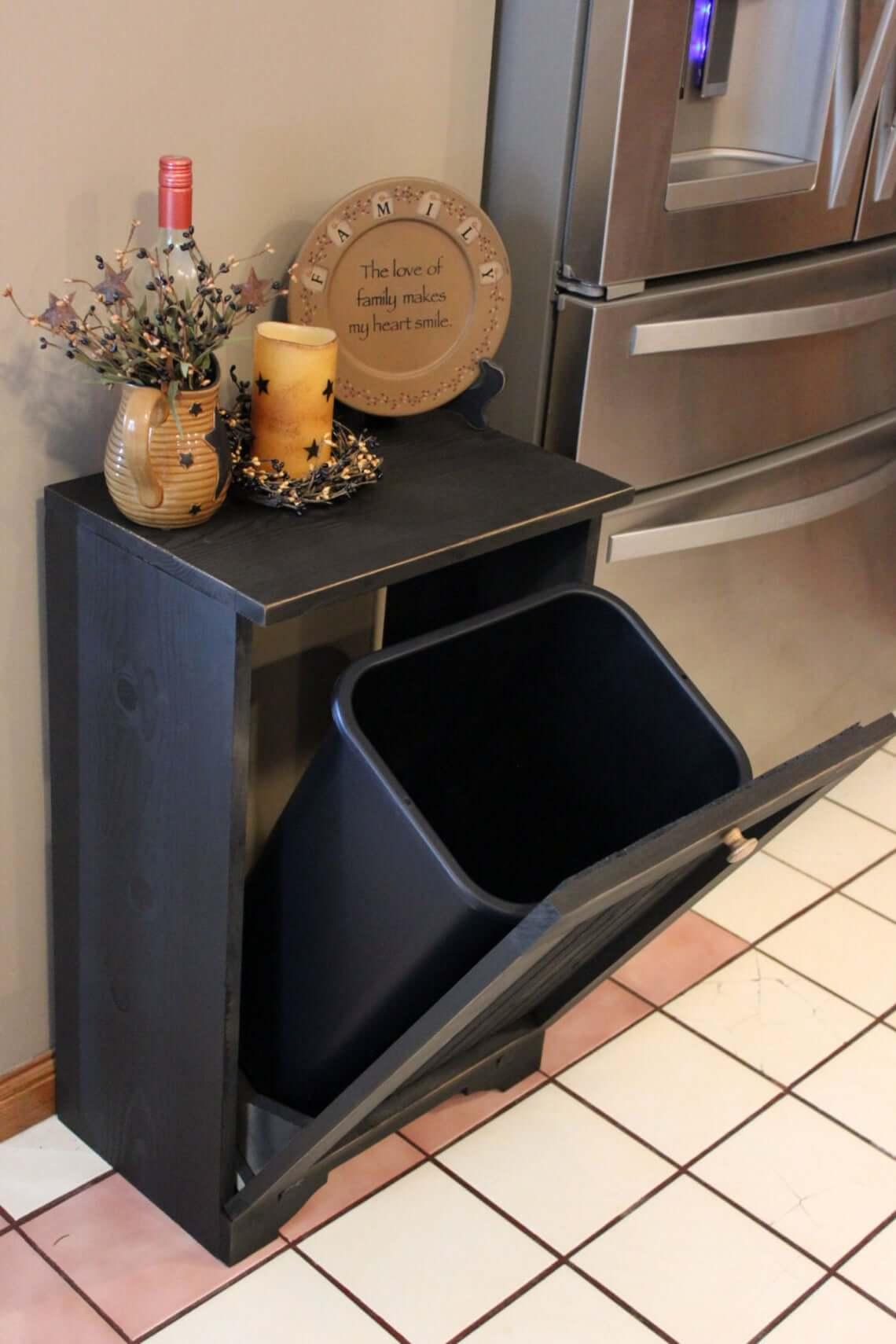 Hidden Trash Cabinet for the Kitchen