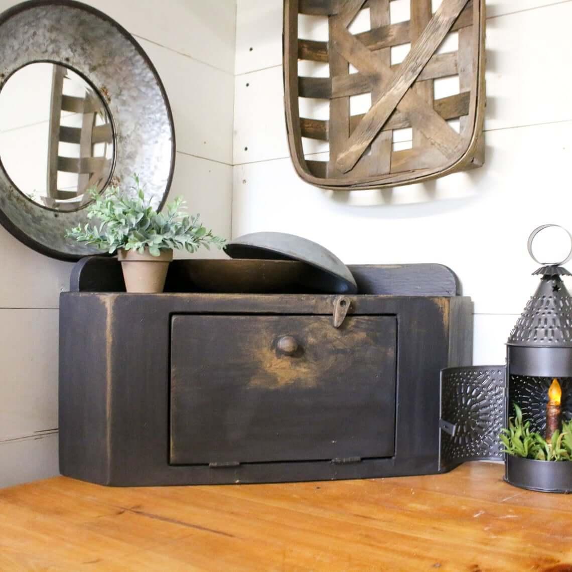Rustic Black Corner Kitchen Bread Cabinet
