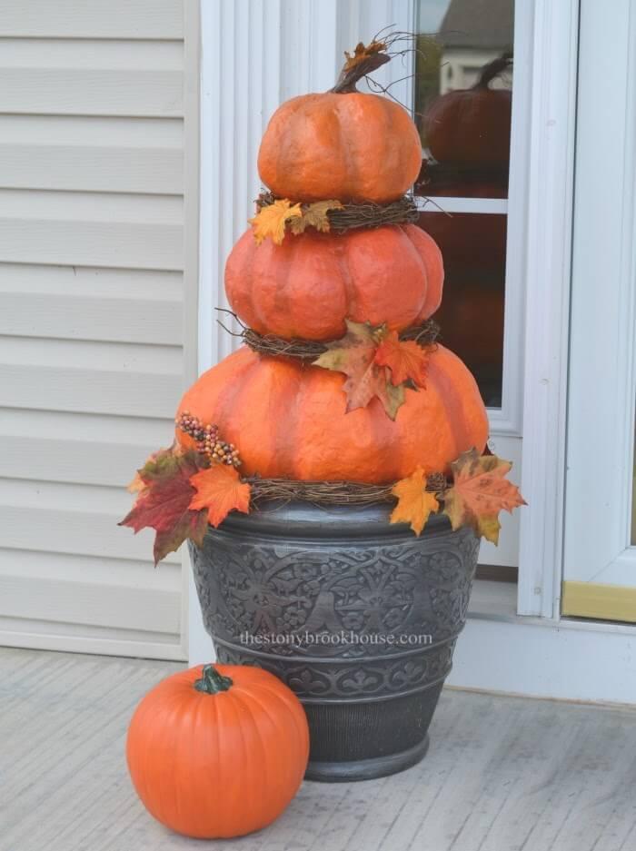 Faux Pumpkin Triplet Topiary Outdoor Decor