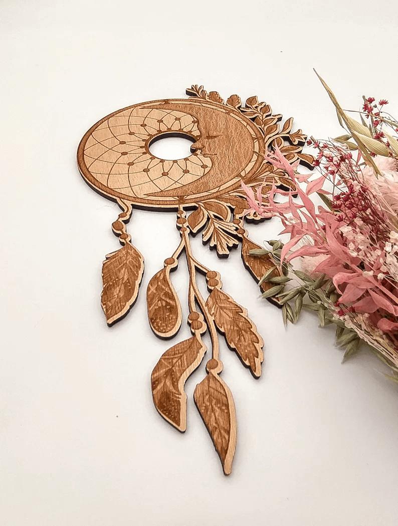 Incredible Wooden Moon Dreamcatcher Art