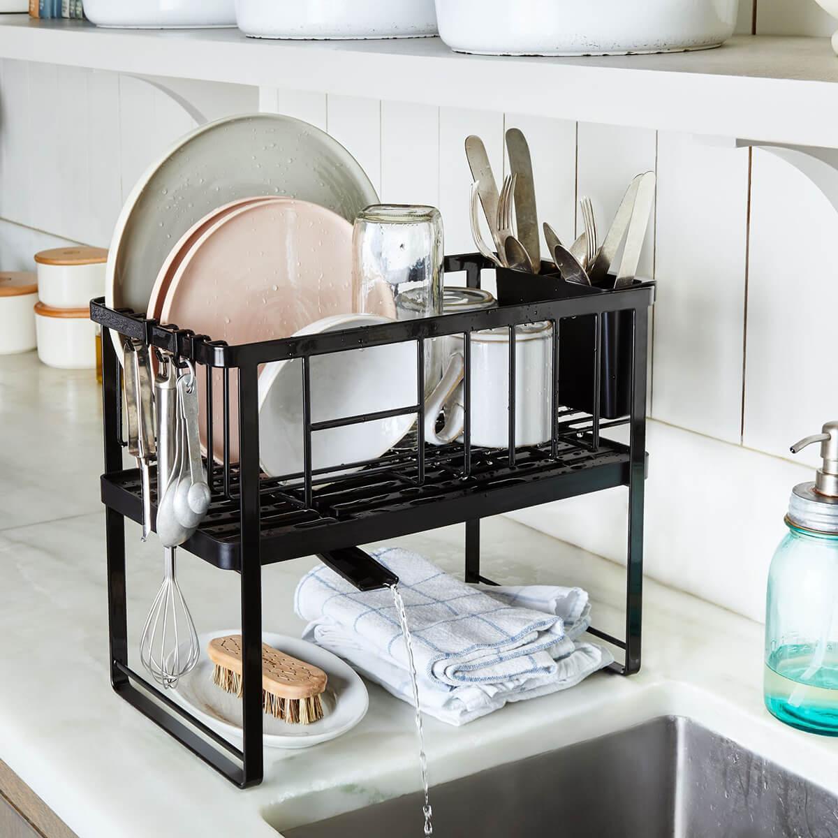 Sleek Modern Black Counter Sink Drying Rack