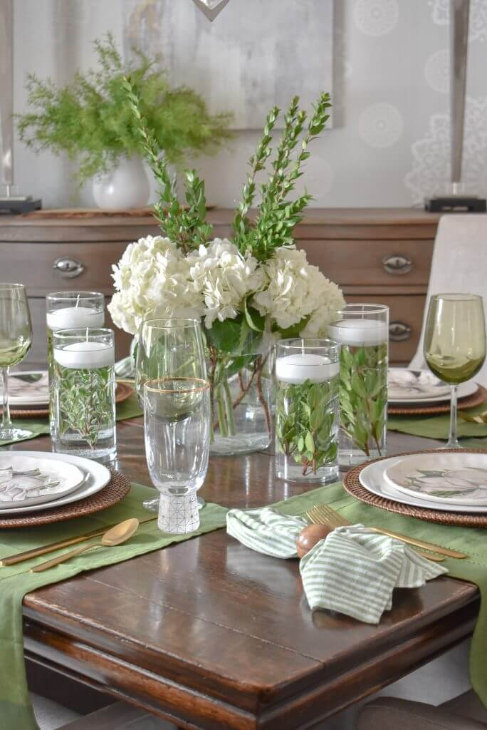 Green and White Tablescape to Welcome Spring